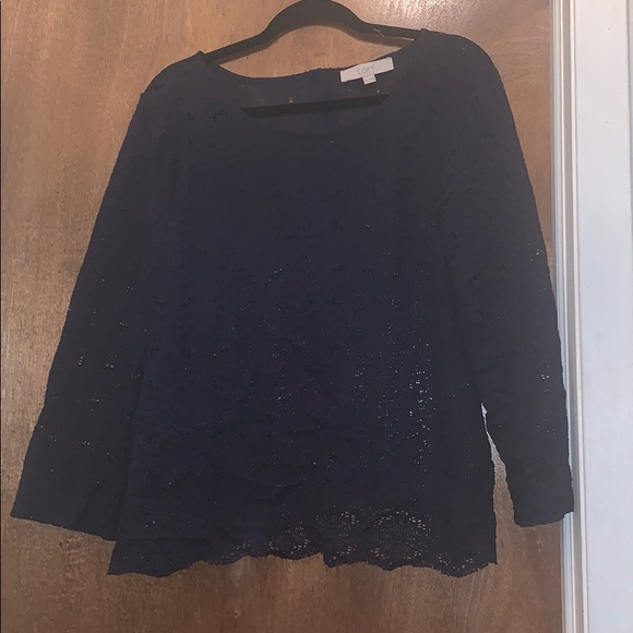 7a55b822666 Loft - Navy lace button back, bell sleeve top